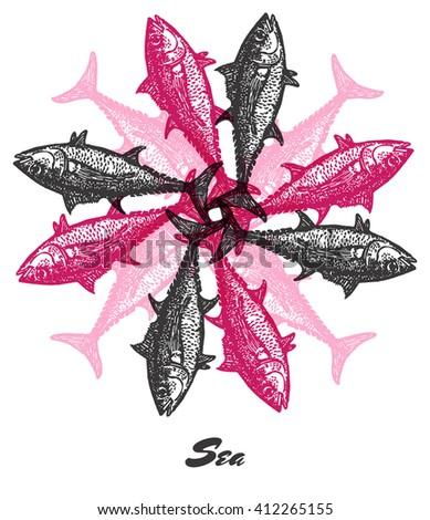 vector sea mood engraved