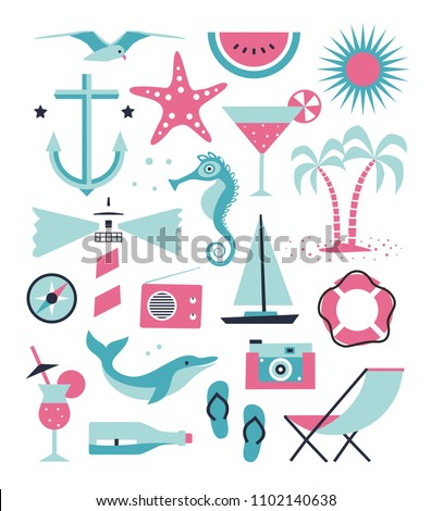 Vector sea set. Flat illustration with sea objects, anchor, gull, starfish, lighthouse, compass, dolphin, ship, palm tree,lifebuoy, chair, bottle, photo camera, cocktail, sea horse . Summer collection