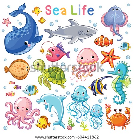 Vector Sea set. Sea animal in children's style. Cartoon fish.