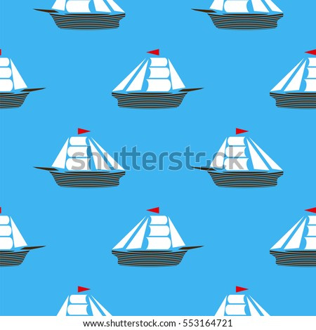 Vector Sea Ships Silhouettes Seamless Pattern. Sailing Boat Background
