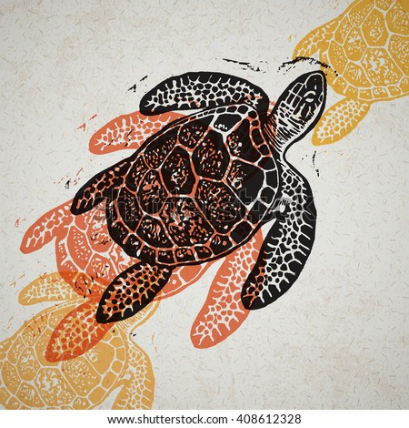 Vector Sea Turtle in abstract composition. Linocut Sea Turtles in different colors on old paper