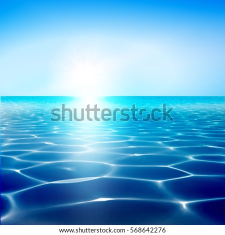Vector sea water blue background. Ocean nature illustration. Wave surface. Travel card design. Sea or ocean wallpaper