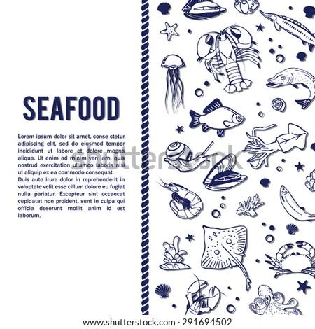 Vector sea world background. Mediterranean design. Underwater wildlife icons. Ocean animals - fish; octopus; shrimp; crab; lobster; mussel; shell. Sea background