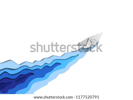 Vector seaborne paper ship cuts white ice and sea blue water waves like icebreaker. Hard working concept for corporate brochures, web sites. Vector paper cut style problem solving conceptual image