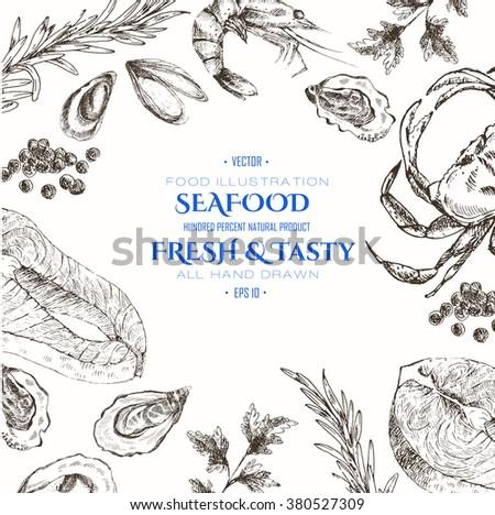 vector seafood designer template set - shrimp, crab, lobster, salmon, oyster, mussel. mediterranean cuisine seafood sketch #380527309