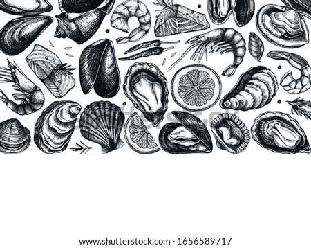 Vector seafood landscape menu design. Hand drawn fish, shellfish, shrimps, mollusks sketches with herbs, spices. Great for seafood restaurant menu. Cooked shellfish top view temple. Foto stock ©