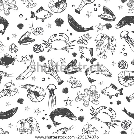 Vector seafood seamless pattern. Mediterranean design. Underwater wildlife texture. Ocean animals - fish, octopus, shrimp, crab, lobster, mussel, shell. Sea background