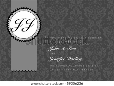 Vector seal frame and ornate pattern. Perfect as invitation or announcement. Pattern is included as seamless swatch. All pieces are separate. Easy to change colors and edit.