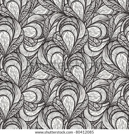 vector seamless abstract floral pattern, monochrome, 4 clipping masks