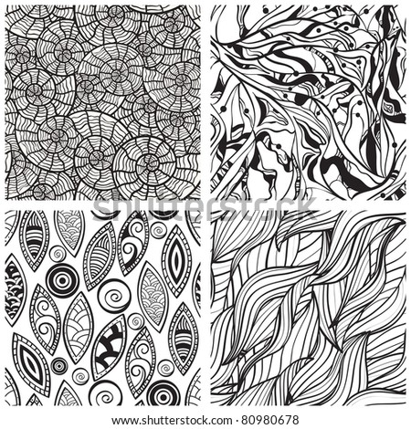 vector seamless abstract hand drawn monochrome patterns, clipping masks