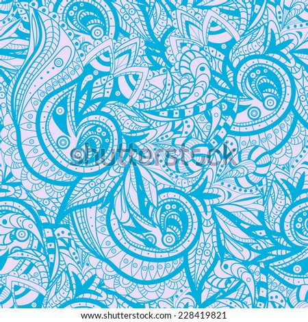 Vector Seamless abstract hand-drawn ornament pattern, wavy background. Pattern can be used for wallpaper, pattern fills, web page background, surface textures. Gorgeous seamless floral background
