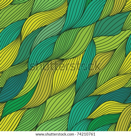 vector seamless abstract hand-drawn pattern, endless texture with leaf