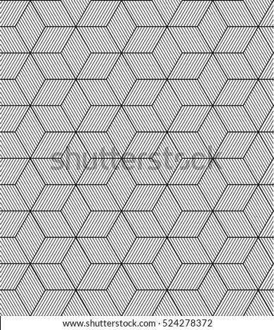 Vector seamless abstract hexagonal pattern background. Optical illusion.