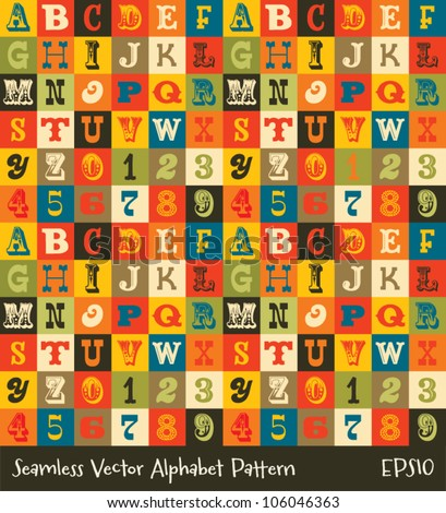 Vector seamless alphabet background pattern in vintage colors. Suitable for posters and prints, wallpaper, textiles, scrap-booking, gift wrap and packaging. See my portfolio for JPEG version.