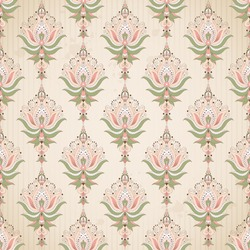 Vector seamless background. Blotches, stripes and vintage damask pattern.