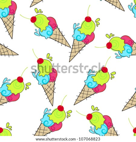 Vector seamless background illustration of cute, hand drawn style ice creams