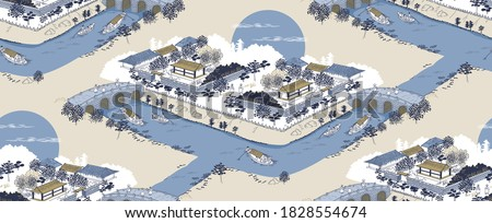 Vector seamless background illustration of the landscape of an old Korean village by a river with a stone bridge and small boats.