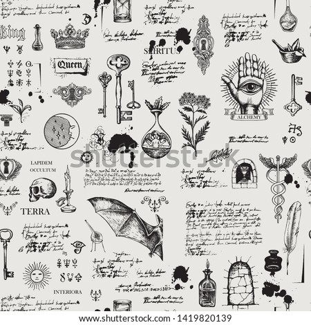 Vector seamless background on the theme of alchemy, magic, witchcraft and mysticism with various esoteric and occult symbols, sketches, blots. The Latin words Spirit, Land, Secret, Interior, Stone