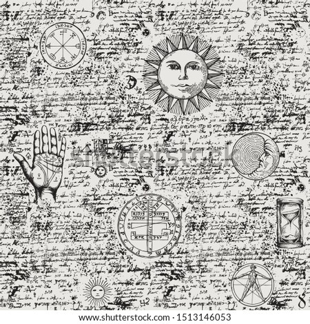 Vector seamless background on the theme of mysticism, magic, religion, medicine, occultism with various esoteric and masonic symbols. Medieval manuscript with sketches, blots and spots in retro style