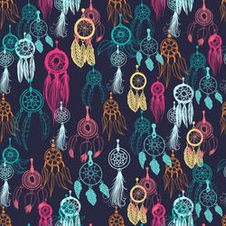 Vector seamless background, retro pattern, ethnic doodle collection, tribal design. Hand drawn illustration with indian dreamcatchers and feathers on the black background