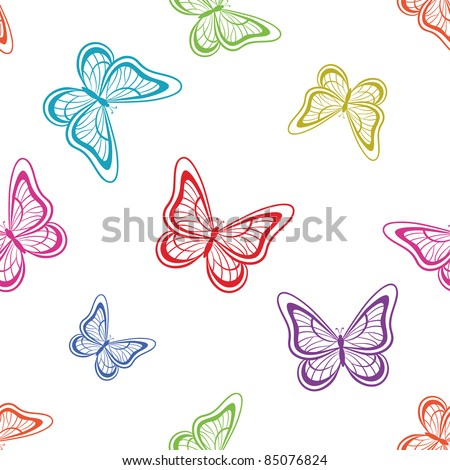 Vector seamless background, various symbolical butterflies, coloured contours on a white background