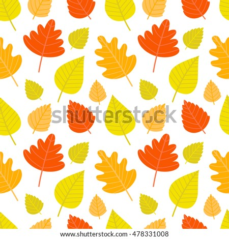 Vector seamless background with autumn elements. Background with autumn leaves. Bright colored leaves.