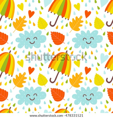 Vector seamless background with autumn elements. Background with autumn leaves, raindrops. Autumn background.