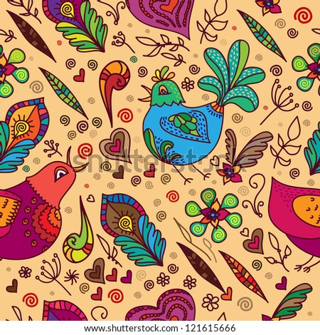 Vector seamless background with birds and flowers. Can be used for curtains decoration. Seamless pattern look like doodles or hand drawn sketch.
