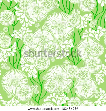 Vector - seamless (background with flowers and leaves)