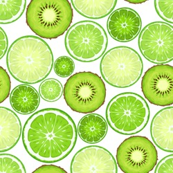 Vector seamless background with green kiwi and lime slices on white.