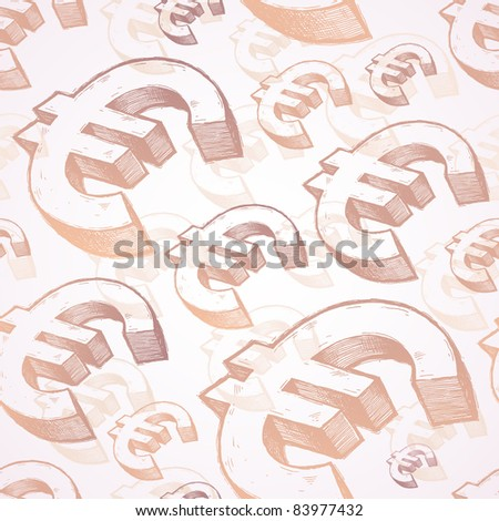 Vector seamless background with hand drawn euro signs