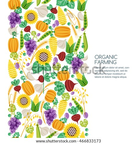 Vector seamless background with hand drawn vegetables and cereal grains icons. Autumn harvest illustration. Design elements for agriculture, harvesting, gardens, farm and farming organic products. #466833173