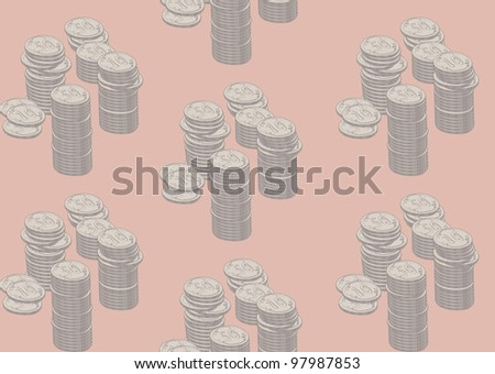 vector seamless background with piles of coins