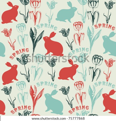 Vector seamless background with rabbits