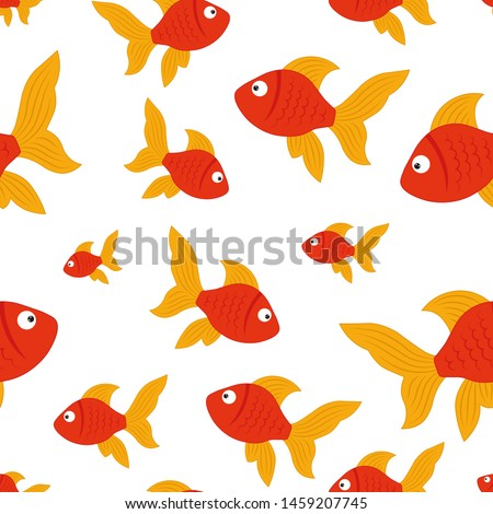 Vector seamless background with red fishes. Cute childrens illustration of fish for packaging, textiles, decor, decor.