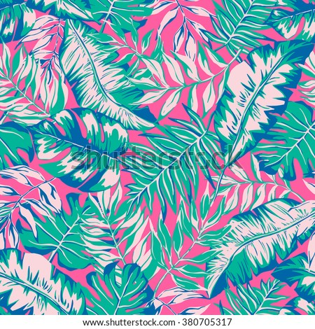 vector seamless beautiful artistic bright tropical pattern with banana leaf, fern frond, split leaf, philodendron, summer beach fun, colorful original stylish floral background print, fantastic forest