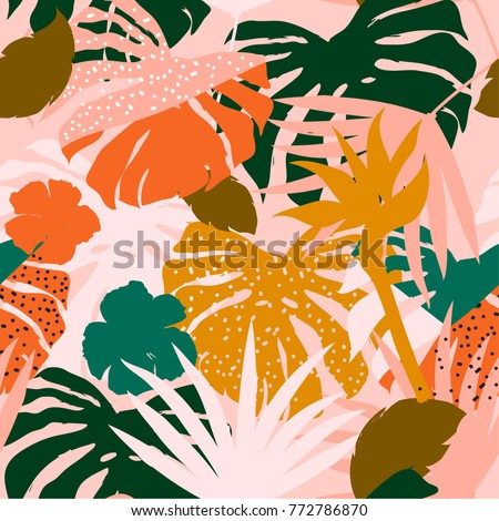 vector seamless beautiful artistic colorful silhouette tropical pattern with exotic forest. Multicolor leaves original stylish floral background print, bright flower on pink