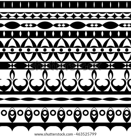Vector seamless  black and white ethnic decorative ornament. Folk and hipster motives, eye shape. #463525799