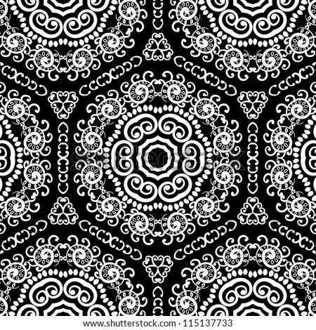 vector seamless black and white floral pattern background