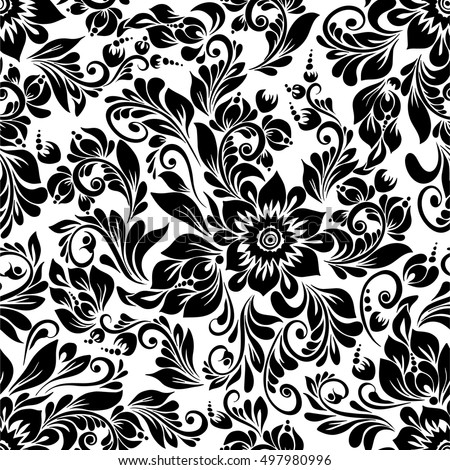 Black and white flowers download free vector art stock graphics vector seamless black and white pattern with abstract stylized flowers in folk style hohloma mightylinksfo