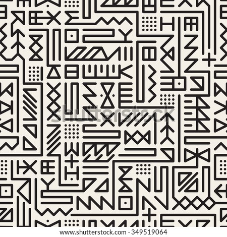 Vector Seamless Black And White Rounded Line Geometric Hipster Signs Pattern Abstract Background