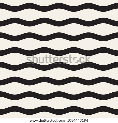 Vector seamless black and white wavy lines pattern. Abstract geometric simple background design.