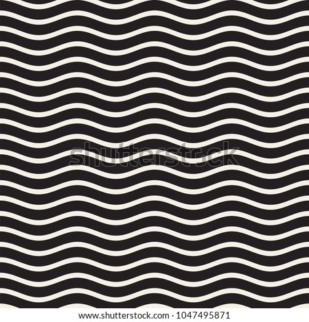 Vector Seamless Black and White Wavy Lines Simple Pattern. Abstract Geometric Background
