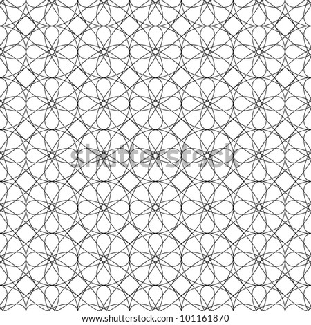 Vector seamless black illustration of tangier grid, abstract guilloche background