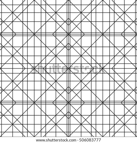 Vector Seamless Black & white Lines geometric Pattern Abstract Background