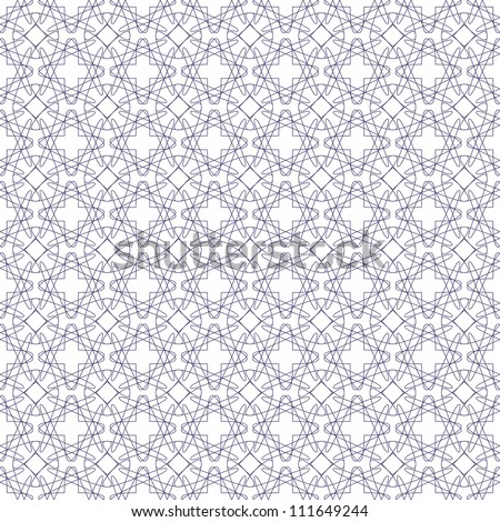 Vector seamless blue illustration of tangier grid, abstract guilloche background