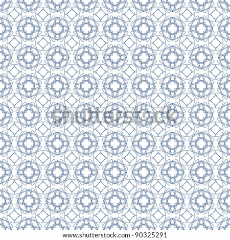 Vector seamless blue illustration of tangier grid, abstract guilloche background - stock vector