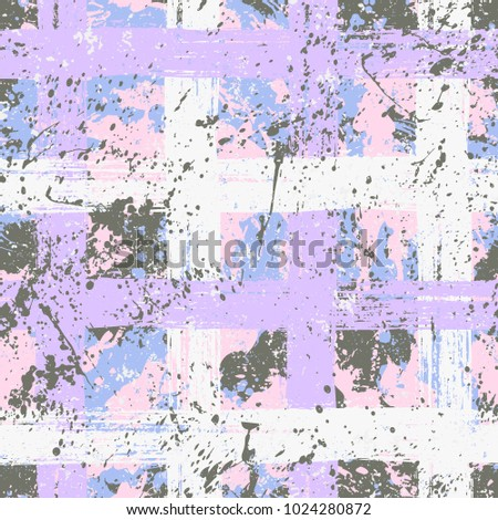 Vector seamless bold plaid pattern with big brushstrokes and thin stripes hand drawn in bright multiple variety of baby pink colors for retro fashion on watercolor background with paint splatters