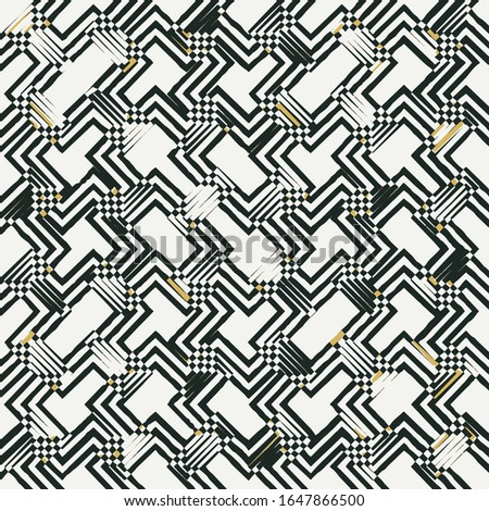 Vector seamless bold plaid pattern with thin brushstrokes and thin stripes colors. Dynamic striped print texture for fall winter retro fashion and sportswear