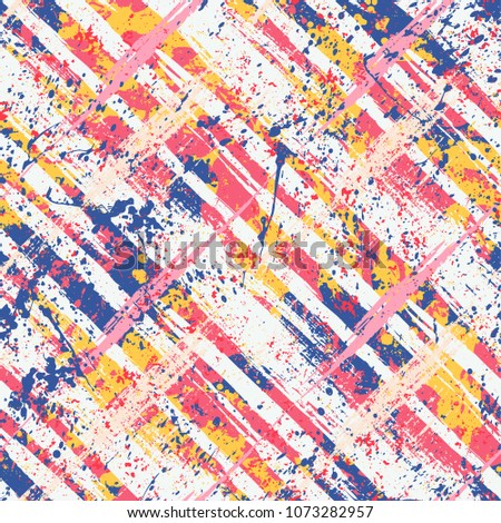 Vector seamless bold plaid pattern with wild crossing brushstrokes and thin stripes, hand drawn in variety of coral pink colors for retro fashion on watercolor background with paint splatters